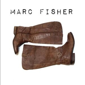 Marc Fisher Tall Brown Leather Riding Boots